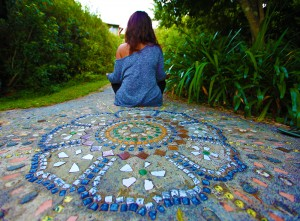 Silent meditation next to a mosaic